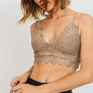 NWT Crochet Lace Bralette in Taupe